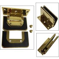 "Quality Gold plated shower hinge with ""C"" hole glass cut to cut--Similar Dorma style for sale"