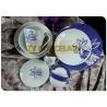 Porcelain Coupe Shaped Plate Tasteless , Design Rim Dining Tableware Sets Fancy for sale