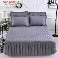 China Pink Purple Grey Solid Cotton Single Double Bed Mattress Cover Petticoat Twin Full Queen Bed Bedspread bedding sets on sale