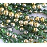 China half gold plated plain round crystal beads wholesale from China beads factory on sale