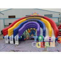 China Colorful Rainbow Inflatable Pool Water Slide Inflatable Rainbow Water Slide For Pool on sale