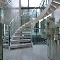 Wholesale House Used Woodern Tread Curved Staircases with Railing and Handrail from china suppliers