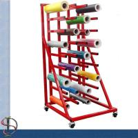 Wholesale Heavy-duty vinyl roll display rack with 36 arms / metal display stand /  Roll display rack with casters from china suppliers