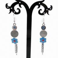 Wholesale Fashionable Drop Earrings, Flower Shape Pendant with Tassels Chain Decoration from china suppliers