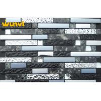 Wholesale Dark Gray Color interior Glass Mosaic Backsplash Tile With Stainless Steel from china suppliers