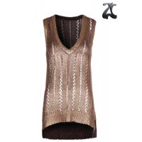 Wholesale Tape Yarn Womens Knit Sweater Vest  Pure Acrylic , Sleeveless Golden Print Vest V Neck from china suppliers