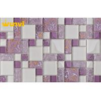 China Interior White And Purple Crystal Glass Mosaic Tiles , Ice Crackle Glass Tile on sale