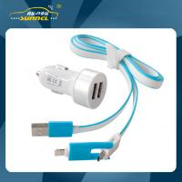 Quality 2.1A Dual USB Adapter Car Charger Kit with 2 in 1 Charging Cable for iPhone 5 , for sale