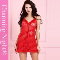 Wholesale Sexy See - through Women Chemise Lingerie Underwear With Fur Trim Ruffles Decoration from china suppliers