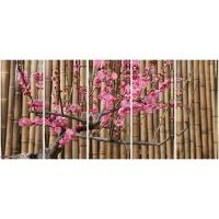 Wholesale 5 panel panoramic canvas prints with red plumblossom bamboo back from china suppliers