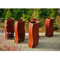 Wholesale Abstract Metal Flower Planters , Unique Corten Steel Pots Welding Craft from china suppliers