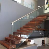Wholesale Customized Single Stringer Wood Treads Floating Stairs / Straight Staircase / Glass Stairs from china suppliers