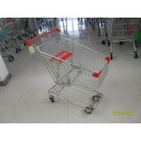 Wholesale Heavy Duty Wire Shopping Carts With Wheels / Red Plastic Parts 80L from china suppliers