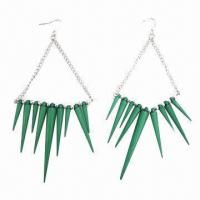 Wholesale Fashionable Drop Earrings with Green Resin Pendant Decoration from china suppliers