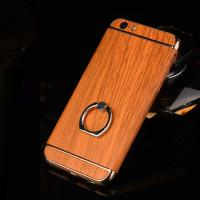 Hard PC Retro Wood Triple Plating Border Ring Buckle Bracket Cover Cell Phone Case Cover For iPhone 6 6s Plus for sale