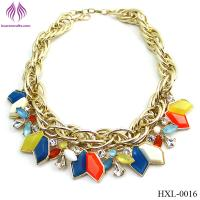 Wholesale fashion rainbow bead necklace exaggerated geometric water drops necklace from china suppliers