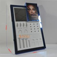 Quality Counter Portable Makeup Display Stand Blue Mirror Protection Treatment for sale