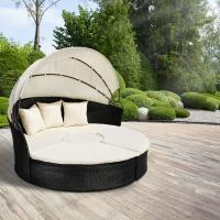 Wholesale Round Outdoor Rattan Daybed Wicker Garden Daybed With Big Sunshade from china suppliers