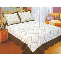 Wholesale Embroidered Quilts Solid With Brown Border , Quick Drying Double Quilt Cover Set from china suppliers