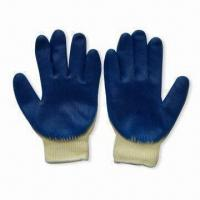 Wholesale Blue Latex Coated Safety Gloves, Suitable for General Working Environment, Anti-skid from china suppliers