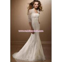 China Romantic Ivory Appliqued A-line Full Length Lace Wedding Dress with Sleeve on sale