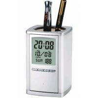 Quality Silver Pen Holder with Alarm Clock (SI-150) for sale