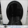 Mirror Shaped Polished Black Granite Tombstone, Mongolian Black Granite Monuments for sale