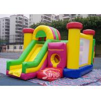 Outdoor Kids Inflatable Bouncy Castle With Slide And Pillars Inside Made Of Best Pvc Tarpaulin for sale