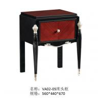 Wholesale Luxury Bedroom furniture of Leather king size bed with Nightstand in Ebony wood glossy painting from china suppliers