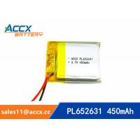 Quality 652631 pl652631 prismatic lithium-ion polymer rechargeable batteries 3.7v 450mah for sale