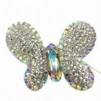 Wholesale Butterfly metal brooch with shining diamonds from china suppliers