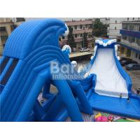 Quality Blue Wave 36 * 20 * 15m Giant Inflatable Water Slide With Pool CE/UL Blower for sale