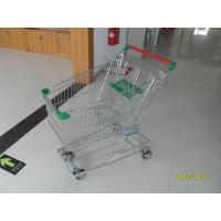 Wholesale Zinc Plated Wire Shopping Trolley 125L With Green Plastic And Button Low Tray from china suppliers