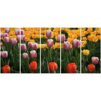 Wholesale 5 panel panoramic canvas prints with pinkpurpleyellow tulips from china suppliers