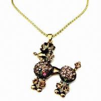 Wholesale Fashionable Pendant Necklace in Animal Shape Design with Multicolor Rhinestone Decoration from china suppliers