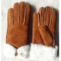 Wholesale Fashion Double Face Shearing Sheepskin Leather Winter Gloves with Bowknot for Lady from china suppliers
