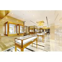 Wholesale Customized Cabinets with Glass Counters by Golden stainless steel for Jewelry store interior design fixture from china suppliers