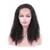 Wholesale Jet Black Real Virgin Hair Lace Wigs , 100 Human Full Lace Wigs Kinky Curly from china suppliers
