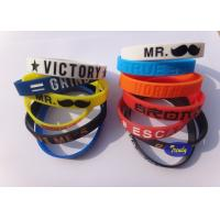 Debossed Sports Silicone Bracelets , Pink Silicone Bracelets SGS for sale