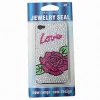 Wholesale Crystal case for iPhone, romantic rose design, available with plastic case, safe and non-toxic from china suppliers