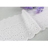 China Embroidered Flower Eyelet Cotton Lace Trim With Azo Free Organic 13cm Width on sale