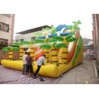 Quality Yellow Commercial Inflatable Slide , Inflatable Stair Slide With Two Slide Way for sale