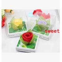 Wholesale New creative promotion gift product wedding rose shape towel with gift box from china suppliers