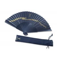 China Folding Black Handmade Paper Fan Gift Fansionable Design With Fabric Bag for sale