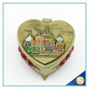 China Castle Desgin Antique Brass Metal Heart Shape Jewelry Box on sale