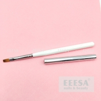 Wholesale Private Label #6 White Wood Handle Silver Lid Flat Uv Nail Building Gel Brush from china suppliers