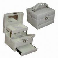 Buy cheap Front Lock Jewelry Box with Rain-drop Texture Faux Leather Surface and Takeaway from wholesalers