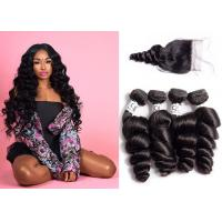 Quality Neat Indian Hair Bundles With Closure , Glamorous Loose Wave Weave With Closure for sale