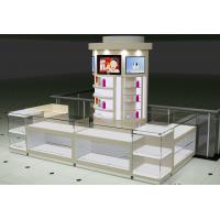 Wholesale Famous brand Diamond Ring Dispaly Kiosks in White Glossy Painting with Glass Jewelry Display Showcase in LED light from china suppliers