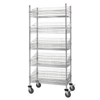 China Grocery Storage Movable Wire Grid Baskets Shelving Five Layers Silver Color on sale
